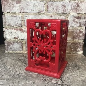 Metal Red Decor Kitchen Utensil or Candle Holder